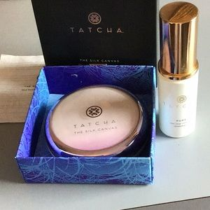 TATCHA THE SILK CANVAS AND PURE CLEANSING OIL.